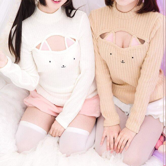 Cute sweet clothing sexy cat turtleneck sweater SE5514
