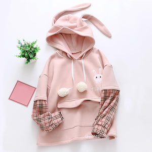 Rabbit Strawberry Fleece Hoodie SE21121