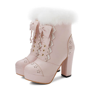 Rabbit Fur Lolita Kawaii Bow Boots SE20658