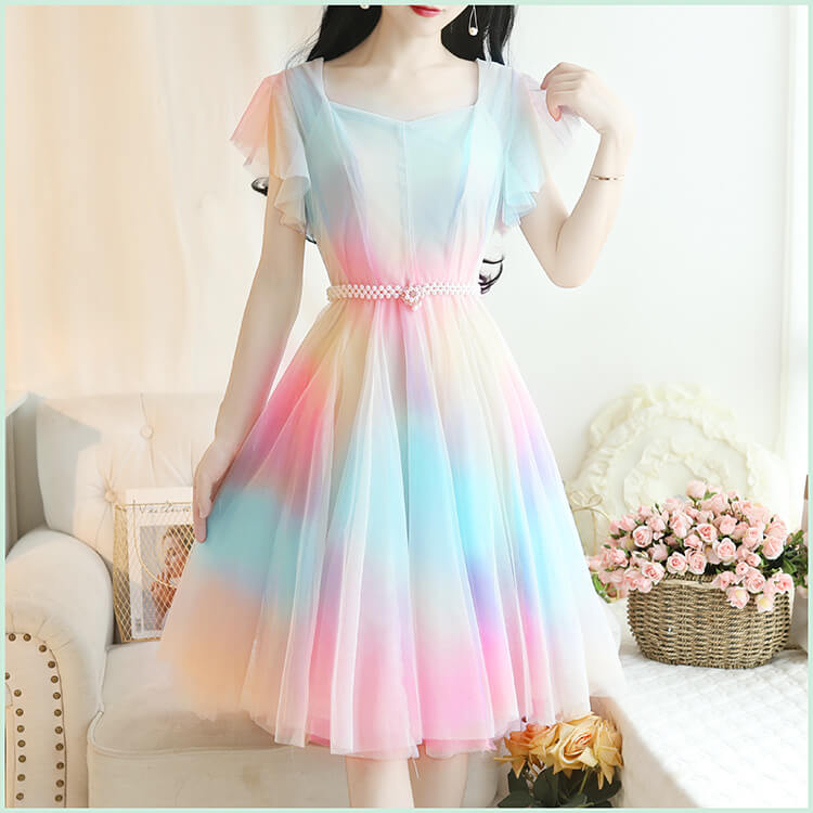 Rainbow Gradient Mesh Dress SE20839