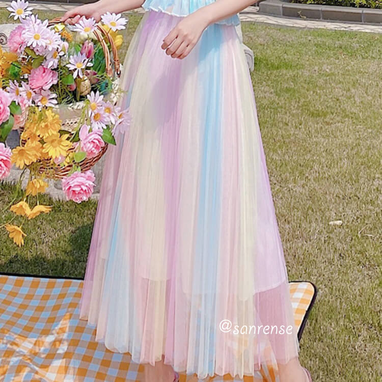 Rainbow High Waist Mesh Skirt SE21015