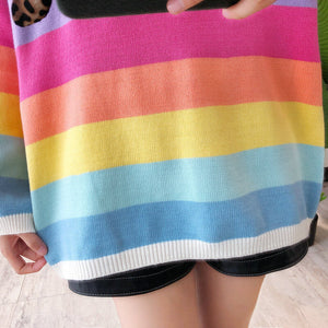 Rainbow Striped Loose Sweater SE20678