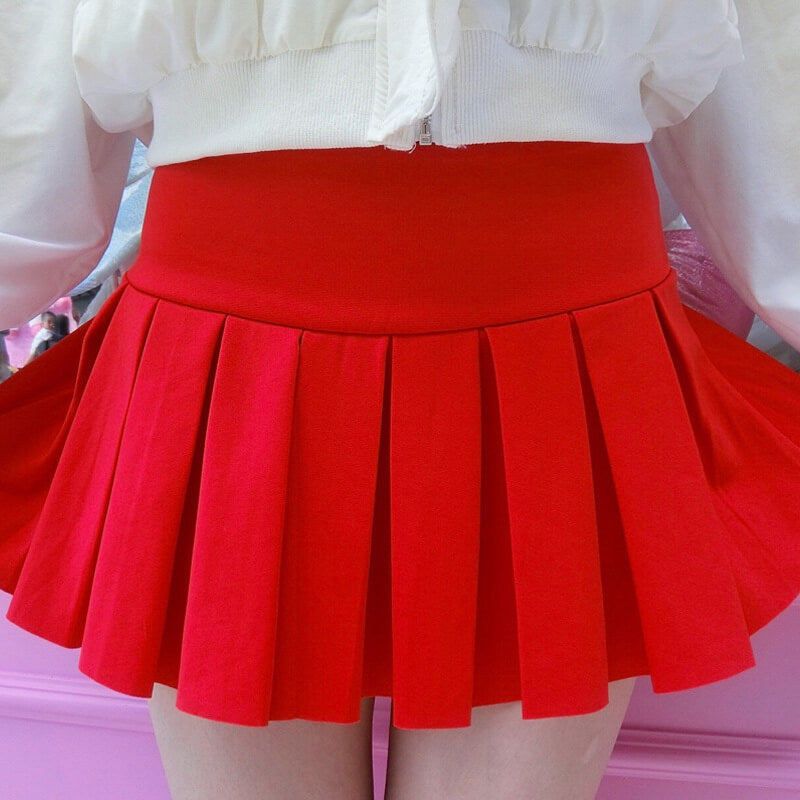 Red/Black Pleated Skirt SE21251