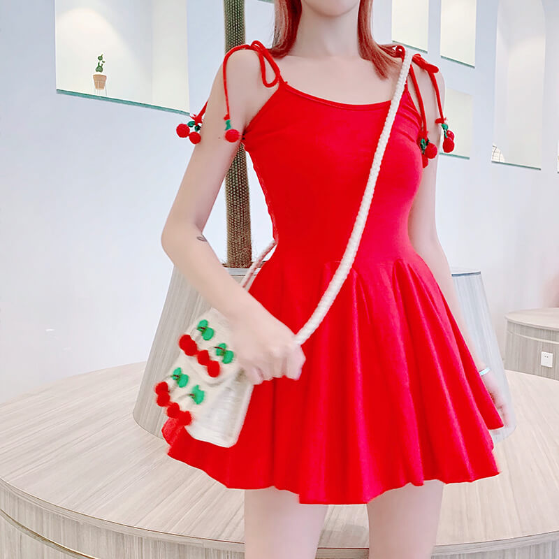 Red Strawberry Cherry Strap Dress SE21160