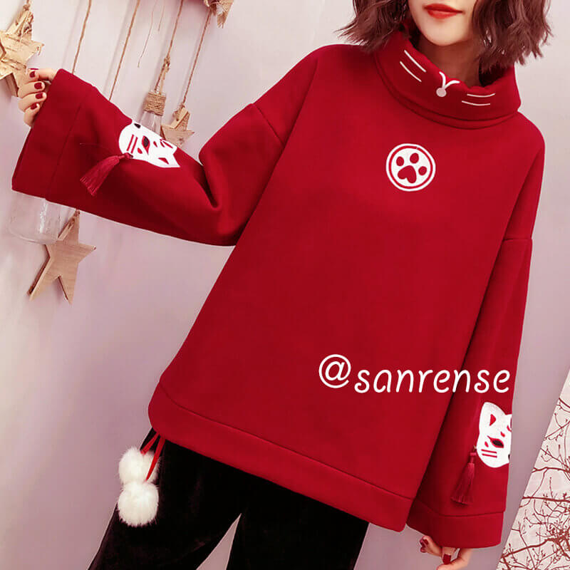Red Tassel Cat Fleece Sweatshirt SE20904