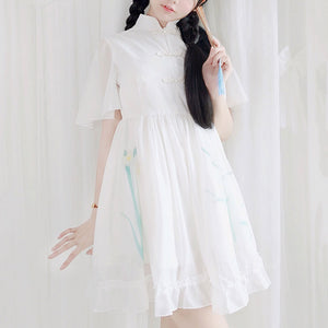 Retro Flower Chiffon Dress SE20375