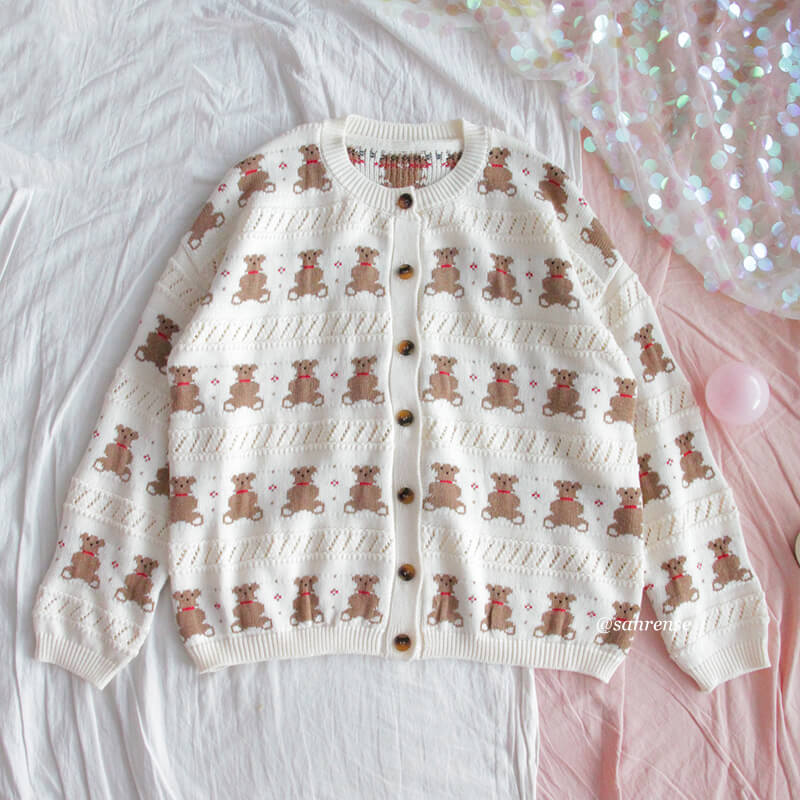 Retro Bear Knitted Cardigan Sweater SE21147