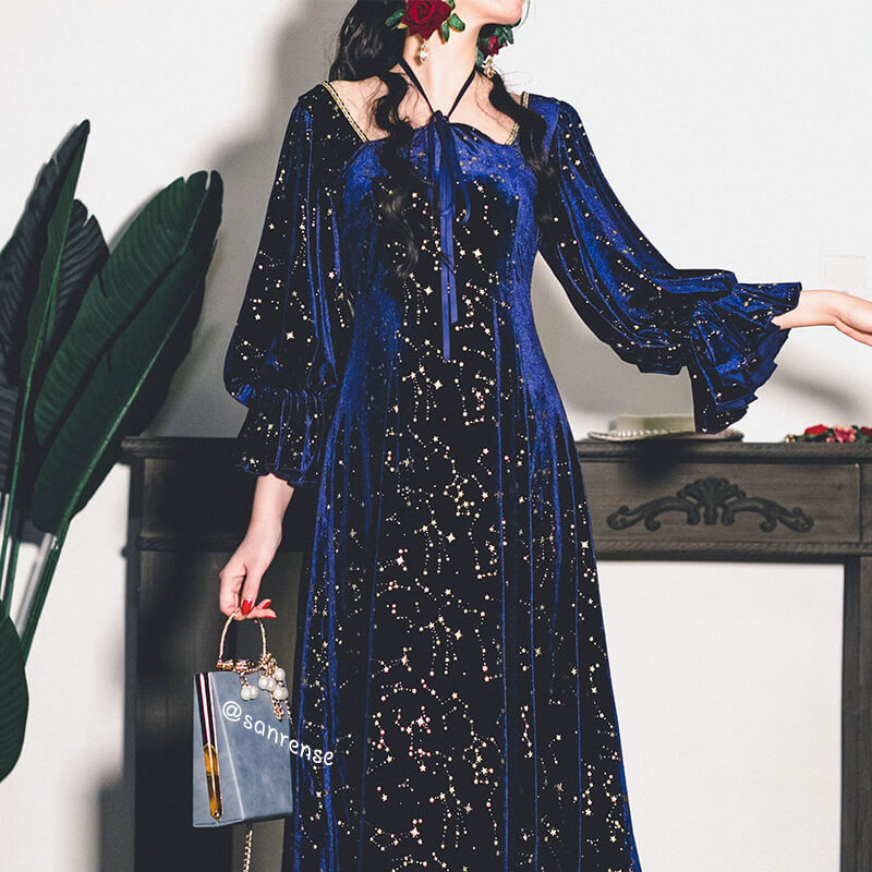 Retro Galaxy Velvet Dress SE21091