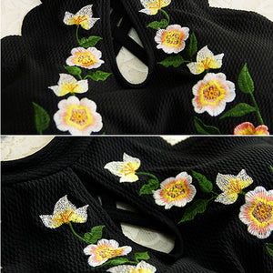Retro Flower Black Swimsuit SE20446
