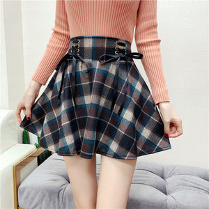 Retro Woolen Plaid Lace-up Skirt SE20672