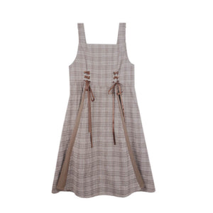 Ribbon Plaid Strap Dress SE21522