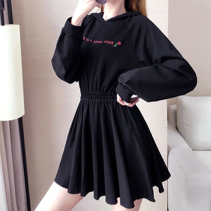 Rose Letter Embroidered Hooded Gothic Dress SE21059