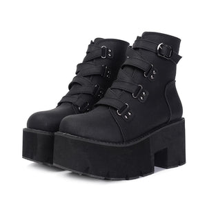 Rubber Sole Buckle Leather Pu Platform Boots SE20540