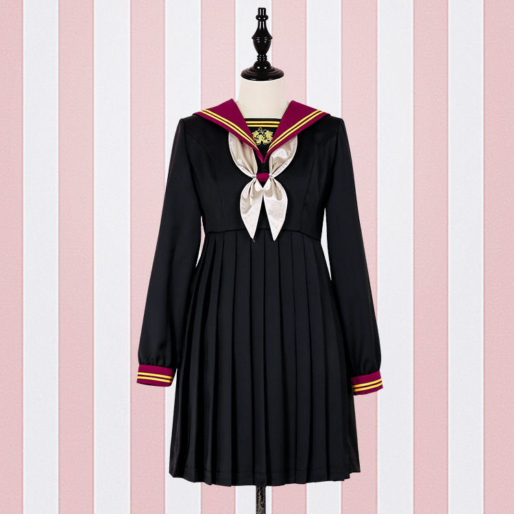 Kawaii lolita navy uniform bow dress SE11045