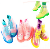 Fashion sweet transparent candy color rain boots