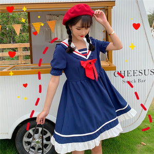 Sailor College Wind Navy Collar Bow Dress SE20317