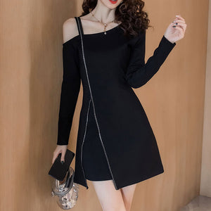 Sexy Off Shoulder Strap Black Dress SE20748