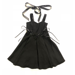Sexy Suspenders Bow Black Dress SE20250