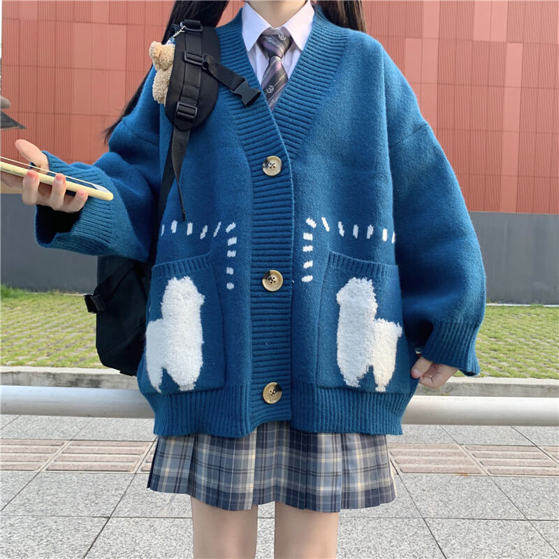 Sheep Knitted Cardigan Sweater SE21268