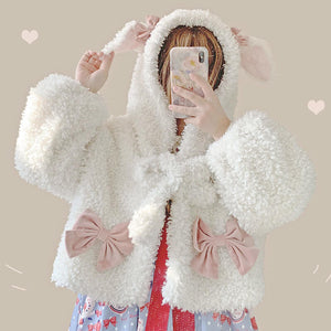 Soft Cute Ear Bow Coat Hoodie SE20755