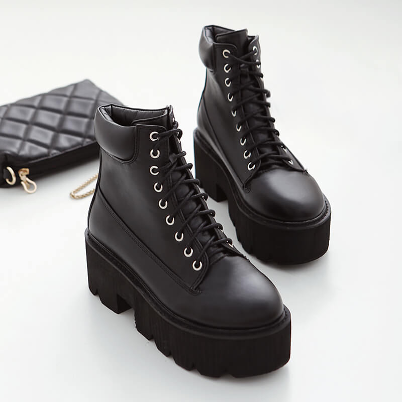 Square Heels Lace-up Platform Boots SE20702