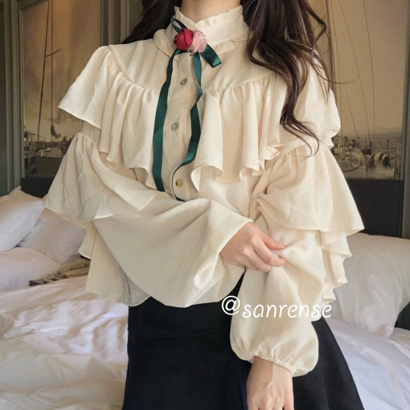 Sweet Ruffle Stand Collar Blouse SE20918