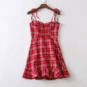 Sweet Plaid Sling Dress SE20371