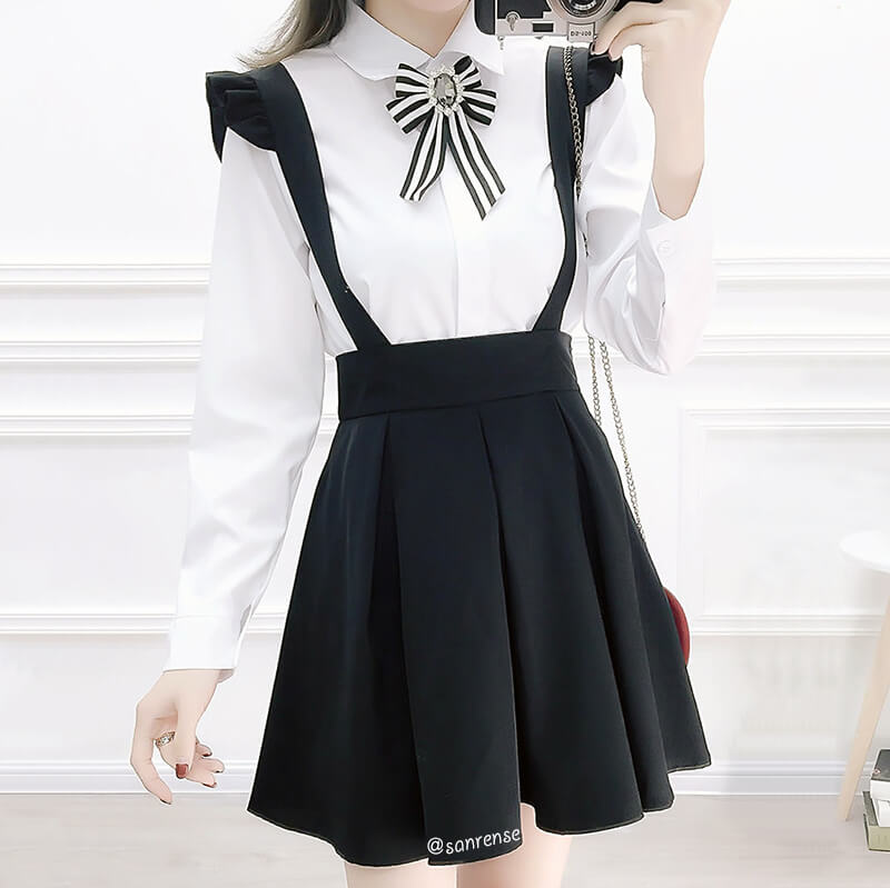 Sweet Bow Shirt Suspender Skirt Suit SE21104