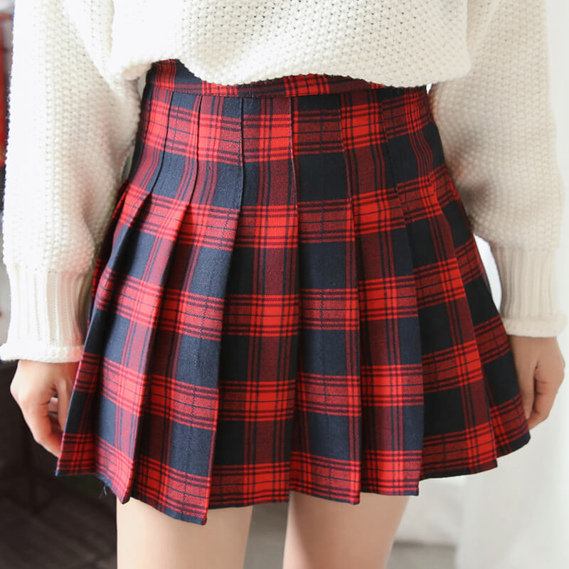 Sweet Grid Pleated Skirt SE21263