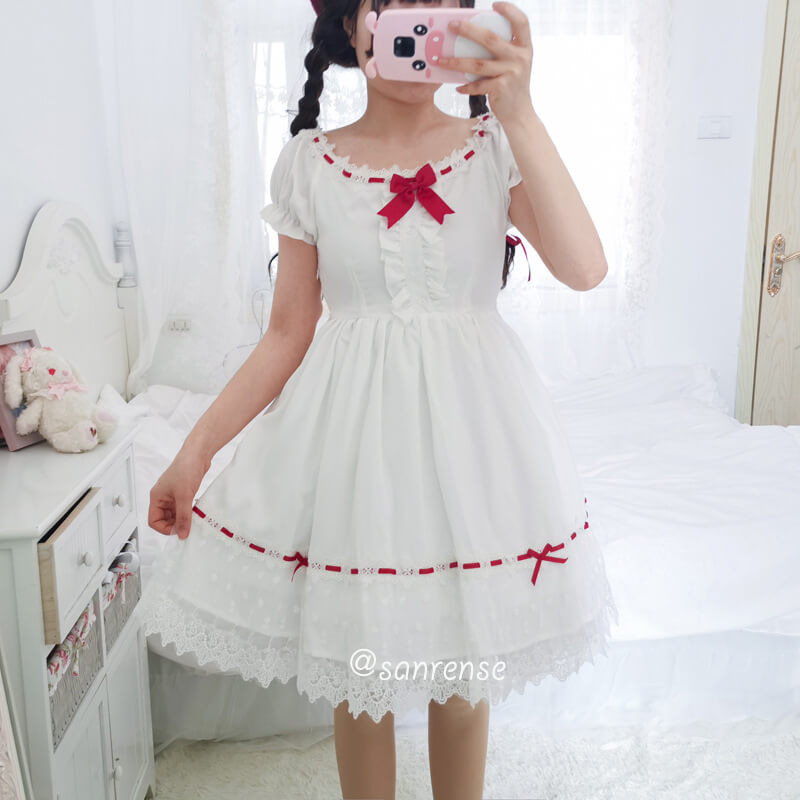 Sweet Lace Bow White Dress SE20993