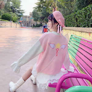 Sweet Pastel Bow Love Wing Sweater SE21202
