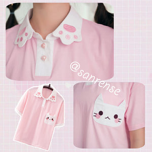 Sweet Pink Cat Claw Cotton T-shirt SE20903