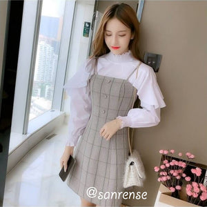 Sweet Ruffled Shirt Suspender Dress Set SE20863