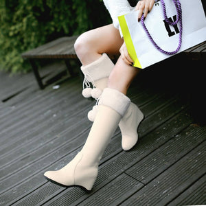 Pink/white Sweet Bow Heels Boots SE10741