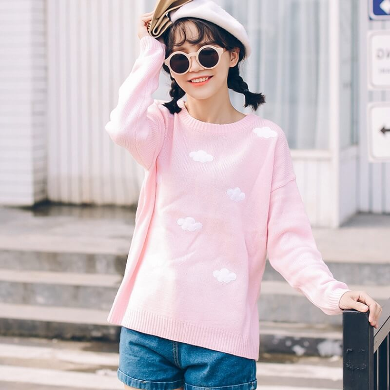 Sweet patch embroidery clouds sweater knit