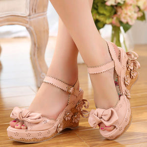 Sweet Flower Bow Lolita Shoes SE20411