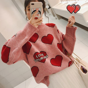 Sweet Heart Letters Pink Streetwear Knit Sweater SE20538