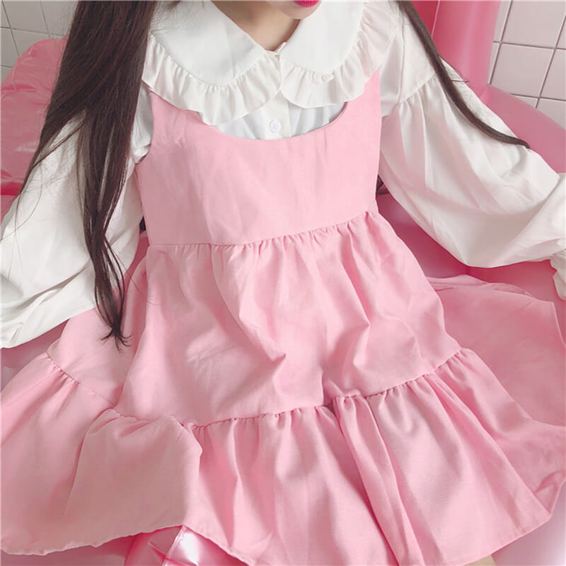 Sweet Japanese Pastel Shirt Vest Dress Set SE20705