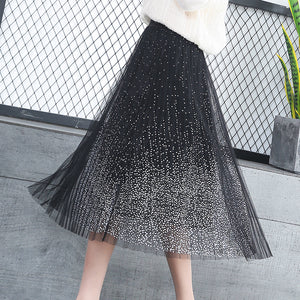 Sweet Mesh High Waist Stretch Pleated Skirt SE20155