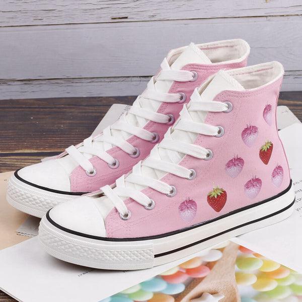 Sweet Pastel Strawberry Hand Painted Shoes SE20426