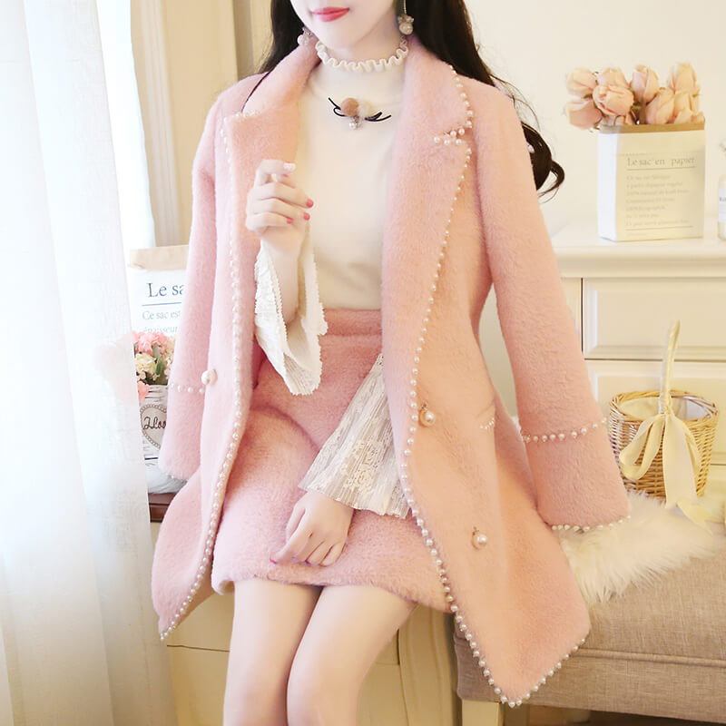 Sweet Pearl Plush Coat Skirt Set SE20726