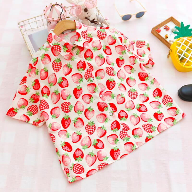 Sweet Strawberry Chiffon Shirt SE20479