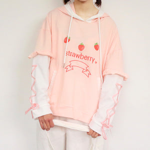 Sweet Strawberry Embroidery Hoodie SE20279