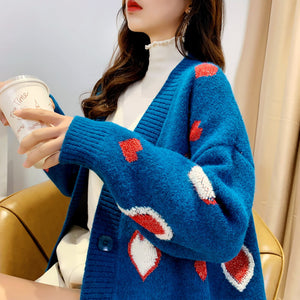 Sweetheart Loose Knit Cardigan Sweater SE20752