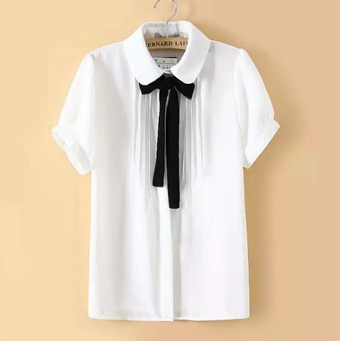 Cute students bowknot tie sweet chiffon blouse