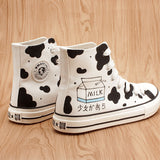 Kawaii students cow milk hand-painted canvas shoes SE11086