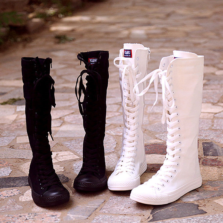 Korea zipper canvas boots