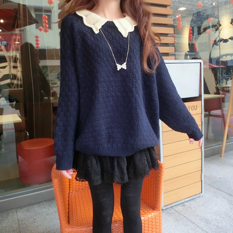 Beige/navy blue students Fake two piece sweater SE10687