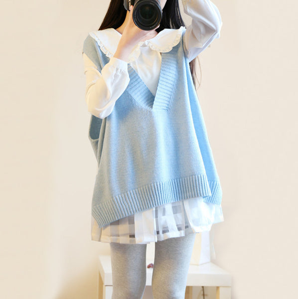 Fashion students shirt + sweater vest sweet knitted suits SE8398
