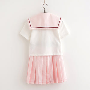 Pink JK Uniform Students Skirts Set SE11254